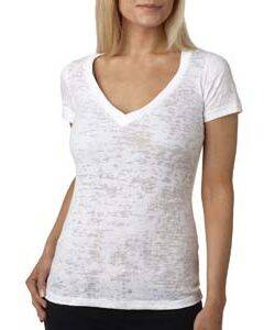 Next Level Ladie's Burnout Deep V Tee