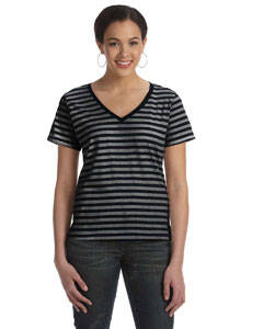 Anvil Ladies' Striped V-Neck T-Shirt