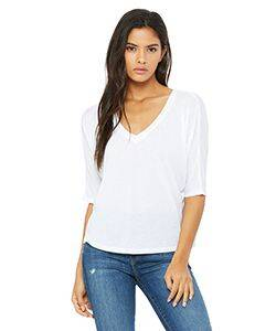 Bella Ladie's Flowy V-Neck Cropped T-Shirt