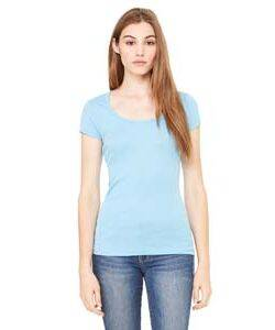 Bella Ladie's Sheer Ribbed Scoop Neck T-Shirt