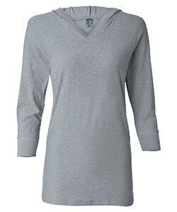 J America Ladie's 3/4-Sleeve Hooded Slub T-Shirt