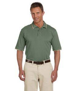 Harriton Pique Knit Polo Shirt with Tipped Collar