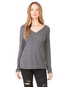 Bella + Canvas Ladie's Flowy Long Sleeve V-Neck