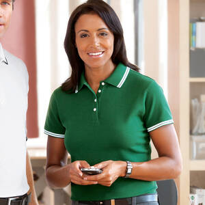 Chestnut Hill Ladies' Tipped Performance Pique Polo Shirt