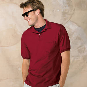 Hanes 50/50 Jersey Knit Pocket Polo Shirt