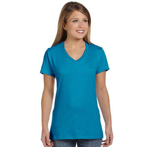 Hanes Ladie's Ringspun Cotton Nano V-Neck T-Shirt