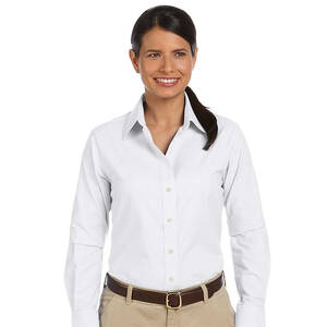 Harriton Ladie's Long-Sleeve Oxford with Stain-Release
