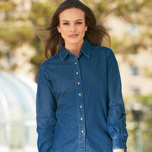 Harriton Ladie's Long-Sleeve Denim Shirt