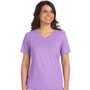 LAT Ladie's Combed Cotton V-Neck T-Shirt